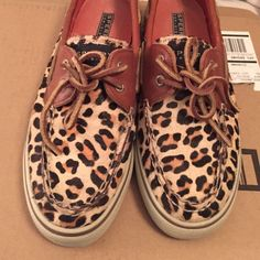 Sperry Boat Shoes Cheetah Print Faux Fur Sperry Top Sider Boat Shoes. These shoes are in great condition. The faux fur is intact and not missing. They have been worn maybe 5 times. Sperry Top-Sider Shoes