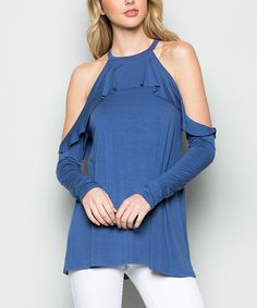 Take a look at this CY Fashion Blue Cold-Shoulder Ruffle Top today!