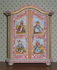 Dollhouse Miniature Hand Painted Peter Rabbit Potter Large Armoire Wardrobe Bodo