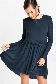 Kimchi Blue Vidal Cosy Long-Sleeve Babydoll Mini Dress