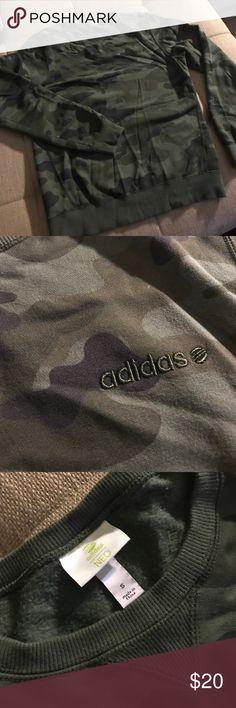 Adidas NEO  camo sweatshirt This is a unisex small crew neck sweatshirt in a dark green camouflage. Adidas Tops Sweatshirts & Hoodies