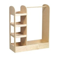 """Features three storage shelves on one side for toys, shoes and dramatic play items; a deep bottom with sides; a sturdy wood dowel for hanging clothes and costumes; and an acrylic mirror for dramatic play. Birch construction with a smooth, natural finish. Accessories not included. Adult assembly required. Ages 3+. Dimensions: 36""""W x 14""""D x 42""""HMaterials: Rubberwood"""