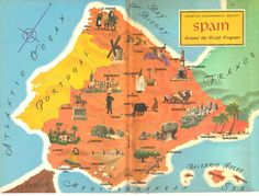 Spain Map Art / Colorful Map Decor / Vintage Map Print / Retro Map Wall Art / Travel Decor / Old Map Illustration / 1960s Spain Decor by HildaLea on Etsy
