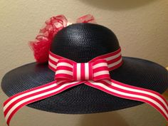 Womens Navy Wide Brim Derby Hat by BlossomingBands on Etsy, $29.99
