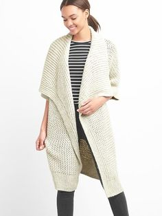 Gap Womens Slouchy Textured Open-Front Cardigan Stone