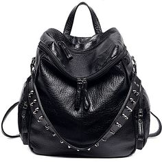 UTO Women Backpack Purse 3 ways PU Washed Leather Rivet Studded Ladies... ($33) ❤ liked on Polyvore featuring bags, backpacks, leather bags, leather shoulder bag, real leather backpack, shoulder bag and leather backpack