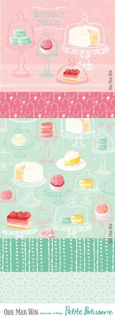 All these designs are available for licensing and full buy out. Surface Art, Surface Design, Desserts Drawing, Cupcake Illustration, Illustration Art, Patterned Cake, Pinterest Instagram, Food Patterns, Floral Logo