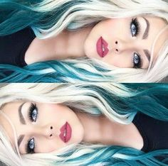 Love the blonde with dark teal color
