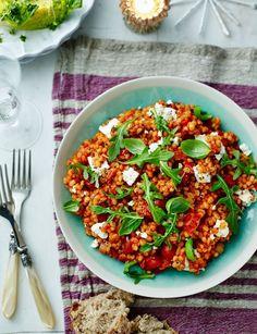 Uten feta obv! Tomato and pearl barley risotto with feta - Sainsbury's Magazine
