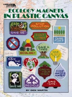 These 15 colorful magnets from Dick Martin will help you spread your favorite ecology messages: Stop Pollution, Don't Litter, Recycle, Love Earth, Care for It, No Smoking, Ecology, Save a Tree, Save E