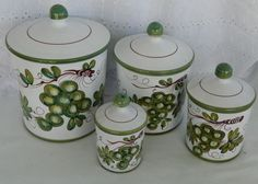 HH Italy Vintage Clay Terra Cotta Ceramic Kitchen Canister Set Grapes Set of 4 #HH
