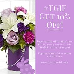 promo especially for you! Easter Flowers, By Using, Tgif, Happy Easter, Coupon Codes, Beautiful Flowers, Happy Easter Day, Pretty Flowers