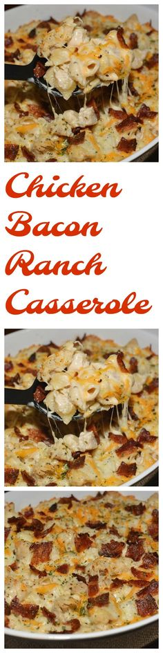 CHICKEN BACON RANCH CASSEROLE  Mouthwatering casserole is yummy and PACKED with flavor. Seasoned chicken, chopped up bacon, Alfredo sauce, and pasta! Recipe: https://mooreorlesscooking.com/2018/03/12/chicken-bacon-ranch-casserole/
