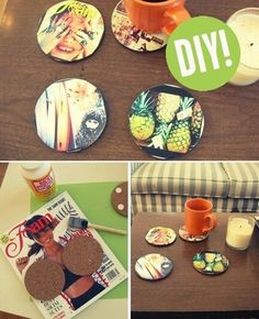 What You'll Need: -4-inch round,  flat cork pieces-Modge Podge glue-Card stock paper-Instagram print-outs- Foam or felt mounting dots   How To Make Them: 1. Using the cork piece, trace a circle onto the card stock and the picture print to make sure the size of the materials match. 2. Spread a thin layer of the Modge Podge onto the cork, then place the card stock on top. 3. Do the same with your Instagram shot, and seal with another thin layer of the glue. 4. Stick four mounting dots on…