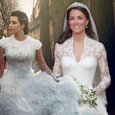 Kate Middleton vs Kim Kardashian Wedding Dress