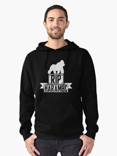 RIP HARAMBE white Pullover Hoodie