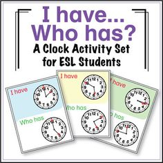 This Clock - I Have, Who Has activity set includes 14 pages and 6 differentiated games. This is a perfect activity for students to practice reading, listening, and speaking!  Hand out the cards and step back! Kids are in control! This set of Clock I Have, Who Has cards take your students step by step in learning how to read time.