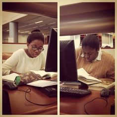 Seniors Freda and Phyllicia conduct ISP (Independent Study Research) at the Library of Virginia in Richmond.