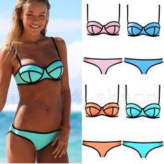 33aaef0898020 Women Sexy Bikini Set Bandeau Triangle Push Up Bra Swimsuit Beachwear  Swimwear on Aliexpress.com
