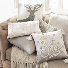60 Gorgeous Christmas Home Decor Ideas for 2018 - Christmas Cushions, Christmas Pillow, Christmas On A Budget, Christmas Home, Christmas Lights, Christmas Movies, Christmas Trees, Silver Pillows, Silver Christmas