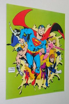 "Original 1979 DC Comics 20 by 15 1/2"" Superboy and The Legion of Super-Heroes comic book poster pin-up 1:1970's DC Universe Superheroes/LOSH"