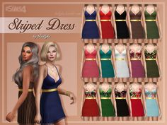 A short dress with a semi transparent striped layer and a golden belt around the waist. It comes in solid and floral patterned versions.  Found in TSR Category 'Sims 4 Female Everyday'