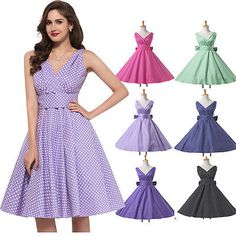 VINTAGE STYLE 50'S 60'S ROCKABILLY DRESS Swing Pinup Retro Housewife Party Dress