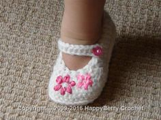 Lazy Daisy Girl's Shoes  https://www.happyberry.co.uk/free-crochet-pattern/Lazy-Daisy-Girl%E2%80%99s-Shoes/5050/