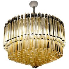 """Monumental Triedri Chandelier, Venini Attrib, circa 1985, Amber/Clear Elements 