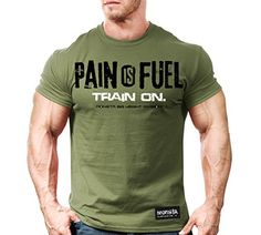 Monsta Clothing Co. Men's Pain is Fuel: Train On. T-shirt Medium Military Green oz) Preshrunk Cotton Athletic Cut (Loose Fit) Printing Color: Black & White Machine Wash Cold (inside-out) Hang Dry for Best Long-Term Care Men's Bodybuilding Workouts, Bodybuilding T Shirts, Monsta Clothing, Mens Printed Shorts, Body Building Men, Athletic Men, Gym Shirts, Yoga Tops, Gym Wear