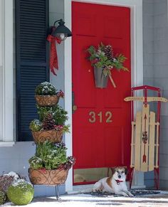 Red accents, like sleds, ribbons and berries, make this front door pop! Dress your door for the holidays with bold red paint and seasonal decorations.