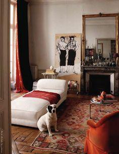 """In Saint-Germain-des-Prés, Paris VI, apartment of artist """"Kyo."""" __ Photos Jean Marc Palisse for Cote Paris _ presented by French By Design blogspot.ca"""