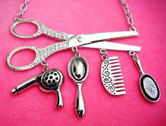 Cosmetologist Scissor Necklace Charms Are Hair Dryer Scissors Comb 21 Inch | eBay