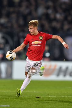 Manchester United's English defender Brandon Williams controls the. Prime Minister Of England, Brandon Williams, England Players, Manchester United Players, Marcus Rashford, Football Match, Europa League, Man United, Soccer Players