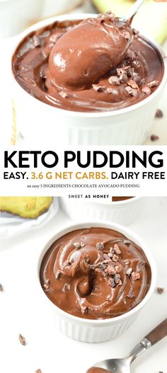 Chocolate avocado pudding Paleo, keto and Vegan, an allergy friendly dessert that even the kids love. An easy healthy sweet treats, sugar free. Keto Friendly Desserts, Low Carb Desserts, Low Carb Recipes, Dessert Recipes, Pudding Desserts, Pie Recipes, Kitchen Recipes, Lunch Recipes, Salad Recipes