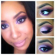 Myiesha's Lilac Shimmer Eye Look Pink Eye Makeup, Hair Makeup, Makeup Tips, Beauty Makeup, Brown Eyes Pop, Beauty And The Beat, Makeup Obsession, Make Me Up, Pretty Eyes