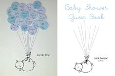 Blue and gray baby shower guest book
