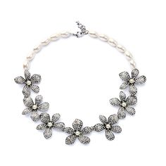 Elegant Romantic Crystal Flowers Simulated Pearls Chain Marquise Necklace Mother Gift
