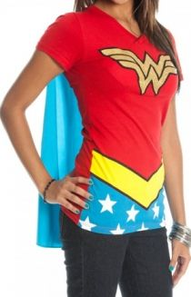 Wonder woman v-neck with a cape, perfect for Halloween
