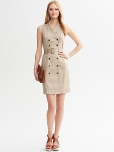 Banana Republic | Belted Khaki Double-Breasted Shirtdress