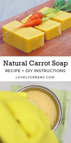 How to make natural carrot soap using the cold-process method It s simple homemade carrot pur e that creates that sunny yellow color soapmaking soaprecipe carrotrecipe Carrot Soap Recipe, Carrot Recipes, Goat Milk Recipes, Soap Making Recipes, Homemade Soap Recipes, Homemade Soap Bars, Cooking Recipes, Best Natural Soap, Natural Soaps