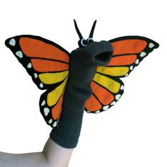 Monarch Sockett® Couture Butterfly Sock Puppet by SockHollow