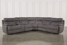 Denali Light Grey 6 Piece Reclining Sectional With 2 Power Headrests Sectional Sofa With Recliner, Grey Sectional, Sofa Couch, Couch Set, Reclining Sectional, Grey Sofas, Recliners, Circle Sofa, Family Furniture