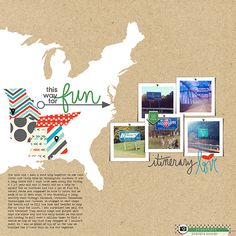 #papercraft #scrapbook #layout. Love the white outline with the states in patterned paper!