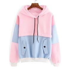 Color Block Drawstring Hooded Sweatshirt ($21) ❤ liked on Polyvore featuring tops, hoodies, sweatshirts, sweaters, jackets, multicolor, hooded sweatshirt, long sleeve tops, pink pullover hoodie and pink hoodies