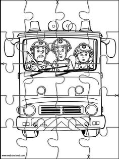 Puzzles. Quebra-cabeças para impressão para crianças O Bombeiro Sam 9