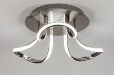 Artikel  72369 Een plafondlamp welke opvalt door zijn artistieke vormgeving Deze plafondlamp is gemaakt van staal, aluminium en kunststof en voorzien van ingebouwde led verlichting. De led strips liggen fraai verborgen achter de witte kunststof strips. http://www.rietveldlicht.nl/artikel/plafondlamp-72369-modern-design-aluminium-aluminium-staal_rvs-rond