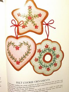 From the Scrap Savers Christmas Stitchery book~felt cookie ornaments