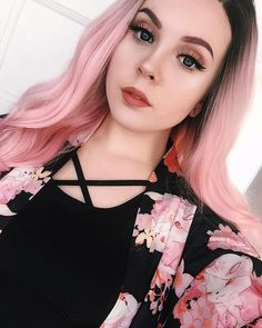 Pink peachy with dark roots wig by facepudding