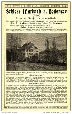 Original-Werbung/Inserat/ Anzeige 1900 - HEILANSTALT SCHLOSS MARBACH AM BODENSEE - ca.180 x 120 mm